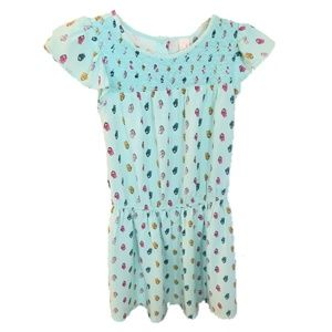 Girls turquoise dress with owl design size 7/8